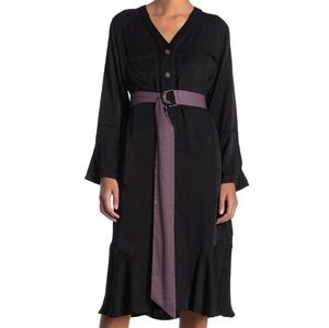 NWT: V-Neck Tie Waist Midi Dress